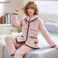哺乳保暖法兰绒套装 孕妇睡衣冬珊瑚绒厚加绒月子服三层夹棉产后