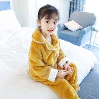 儿童家居服 女童秋冬季法兰绒家居服女孩加厚加绒珊瑚绒套装中大童宝宝冬装睡衣