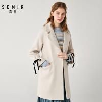 森马毛呢大衣女秋季新款优雅可爱甜美外套中长款呢子上衣学生