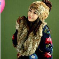 女士韩版皮草保暖套装围脖皮手套新款个性时尚休闲濑兔毛帽子围巾手套三件套