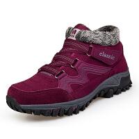中老年冬季加绒棉鞋休闲运动妈妈鞋爸爸鞋保暖滑耐磨