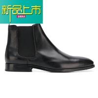 新品上市靴男短靴真皮尖头冬季C 英伦男士靴子百搭马丁靴 黑色