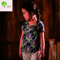【当当自营】贝康馨 Baby Comfort 2016夏装新款女童韩版花朵印花套头短袖儿童衬衫