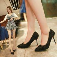 中跟3-5-8cm浅口布面优雅性感高跟鞋女单鞋工作职场细跟猫跟浅口