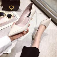 高跟鞋女鞋2019新款细跟单鞋浅口职业工作鞋韩版简约气质OL女鞋
