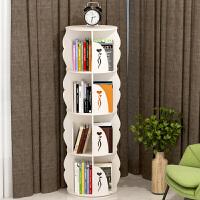 创意学生360度书柜 简易落地转角置物架 书房客厅多功能旋转书架 加大款 (六层-46*195cm)