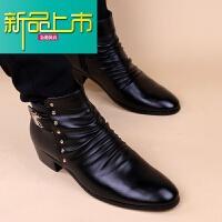 新品上市男士马丁靴韩版尖头皮靴内增高英伦短靴型师潮男靴子高帮鞋