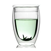 大号双层杯带盖玻璃杯子360ML果汁饮料杯开水杯家用玻璃杯凉水杯耐热高温玻璃杯花茶杯子水杯
