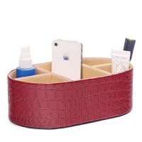 Janeouay 创意时尚亮面鳄鱼纹粉色化妆台工具盒桌面杂物整理收纳盒 抽屉小件分类盒子抖音