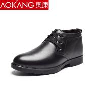 奥康棉鞋男冬季加绒保暖真皮商务休闲青年棉靴鞋加厚高帮棉皮鞋短靴