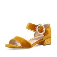【 立减120】哈森 夏季新款丝绒低方跟女鞋 水钻饰扣一字带休闲凉鞋女 HM81442