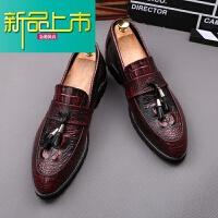 新品上市男士英伦纹尖头皮鞋潮流韩版型师套脚一脚蹬小皮鞋增高 红色套脚( 内增高