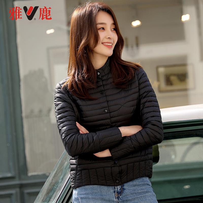 雅鹿短款羽绒服女韩版2019新款反季时尚小款轻便轻薄修身外套潮k 羽绒反季1件3折