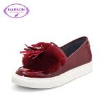 【秋冬新款 限时1折起】哈森休闲鞋女 平跟牛皮革单鞋HL61437