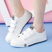 人本平底学生帆布鞋女夏透气女鞋子 魔术贴护士鞋百搭简约小白鞋