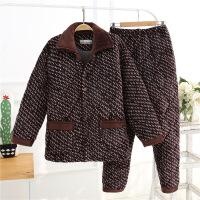 冬睡衣珊瑚绒夹袄三层加绒老年人保暖法兰绒家居服爸爸