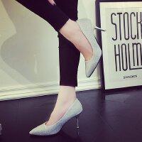 5-7公分亮片银色伴娘鞋礼服小单鞋细跟高跟鞋女中跟浅口百搭宴会