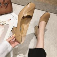 复古单鞋女2019春季新款方头粗跟浅口高跟鞋简约休闲网红百搭女鞋
