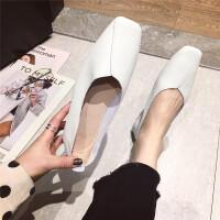 2019春季新款时尚真皮牛皮超简斜纹拼接舒适平头软底奶奶鞋女鞋