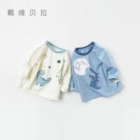 davebella戴维贝拉春季新款男女童T恤 宝宝卡通套头衫DBX12744-2