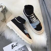 冬季新款女鞋百搭平底休闲鞋潮原宿风加绒棉鞋学生韩版运动鞋保暖 黑色 H1822K