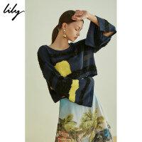【LILY超品2件2折/预估到手价:107】Lily夏女装chic宽松喇叭袖短款毛针织衫1190B8310
