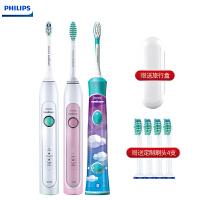 飞利浦(PHILIPS) 电动牙刷HX6730 HX6761 HX6322声波震动牙刷 家庭装 三支装 一家三口的幸福