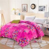 法莱绒被套单件加厚毛毯子紫色发财树枕套单双人四件套珊瑚绒床单定制定制