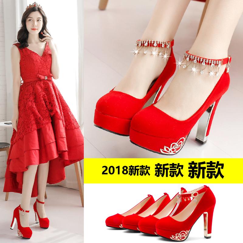 高跟鞋2018新款婚鞋女红色结婚鞋子中式新娘鞋粗跟防水台敬酒红鞋