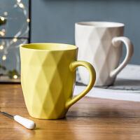 简约杯子创意个性咖啡杯潮流马克杯北欧风水杯陶瓷家用带勺情侣杯