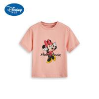 迪士尼童装米妮女童短袖T恤宝宝洋气宽松薄上衣外穿中小童正品潮