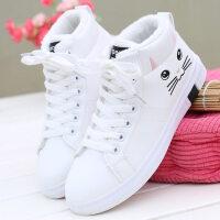 二棉鞋女学生高帮休闲运动鞋子韩版平底百搭2018新款冬季加绒棉鞋 B02(保暖) 白色
