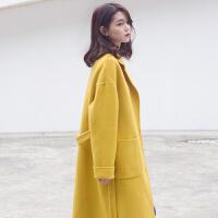 新年特惠双面大衣女2019流行新款黄色呢子宽松中长款毛呢手工外套 黑色 现货