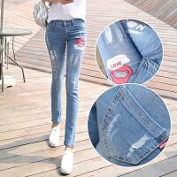 夏韩版牛仔裤女小脚裤长裤修身显瘦弹力破洞长裤学生铅笔裤浅