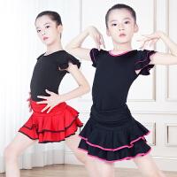儿童拉丁舞服装短袖套装舞蹈练功服女孩拉丁舞裙子夏季连衣裙V领