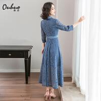 蕾丝连衣裙2019初秋新款很仙的法国小众桔梗裙流行西装领长款裙子