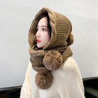 韩版毛线帽子女秋冬百搭连围巾一体帽冬季可爱护耳加厚保暖针织帽