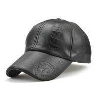 皮帽子男秋季新款韩版时尚PU皮质黑色棒球帽男士冬天鸭舌帽