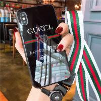抖音网红同款文字苹果X手机壳潮牌iPhone8plus情侣7p创意6s欧美7plus玻璃壳明