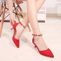 2018春秋中跟一字式扣带细跟3-5厘米绒面女中空红色婚鞋高跟鞋单