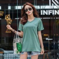 中长款短袖t恤女V领纯色上衣棉宽松半袖韩版衣服夏装体恤