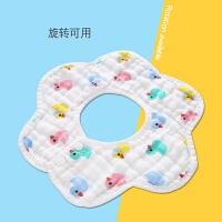 婴儿口水巾纯棉防水纱布宝宝围嘴360度旋转小孩围嘴新生夏季薄款