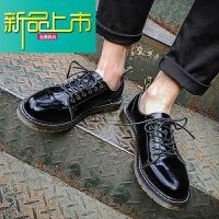 新品上市港风时尚男鞋秋季英伦圆头休闲小皮鞋韩版真皮日系复古马丁鞋 黑色