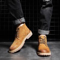 马丁靴男2018新款男靴短靴子男英伦男鞋冬季保暖工装大黄靴