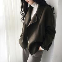 2019新款毛呢外套女秋冬新款直筒型大翻领纯羊毛呢子短款零羊绒大衣