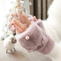 手套女冬天加绒学生可爱萌韩版潮卡通加厚毛绒ins 骑行保暖棉手套
