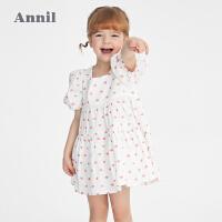 【2件4折价:147.6】安奈儿童装女童连衣裙一岁公主裙2021新款儿童裙子纯棉女宝宝夏装