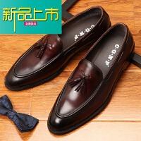 新品上市英伦真皮鞋男士皮鞋固异套脚懒人鞋休闲一脚蹬潮男鞋子