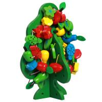 儿童串珠玩具早教串串乐木制串串果树 穿插玩具智慧树