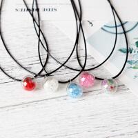 彩色水钻透明玻璃珠子吊坠项链挂珠DIY锁骨链手工饰品配件
